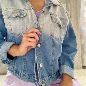 Acid Wash Cropped Jean Jacket